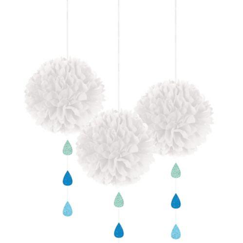 White Cloud Tissue Pom-Poms with Glitter Raindrops, 3-pc