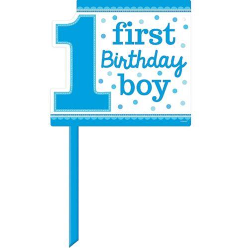 Affiche de pelouse 1er anniversaire, garçon bleu