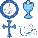 Blue and Silver First Communion Cutouts, 12-pc
