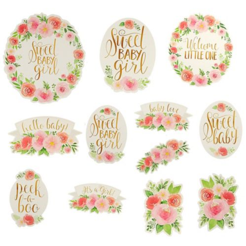 Floral Baby Cutouts, 12-pc