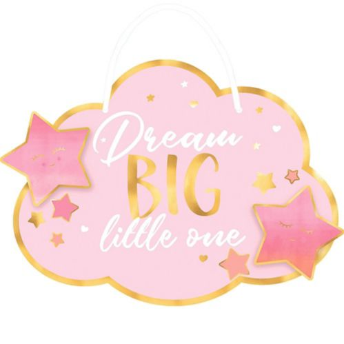 Metallic Gold and Pink Dream Big Little One Sign