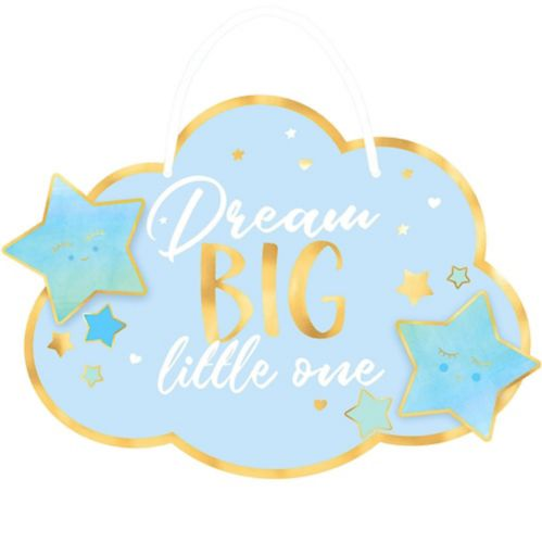 Blue and Metallic Gold Dream Big Little One Sign
