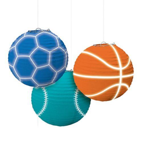 Lanternes en papier Anniversaire sport, paq. 3