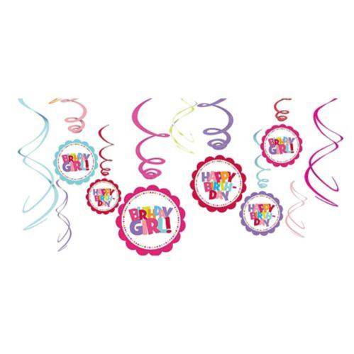 Girl Birthday Swirl Decorations, 12-pc