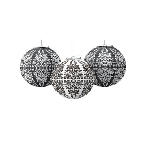 Lanternes en papier, motif damassé noir et blanc, paq. 3