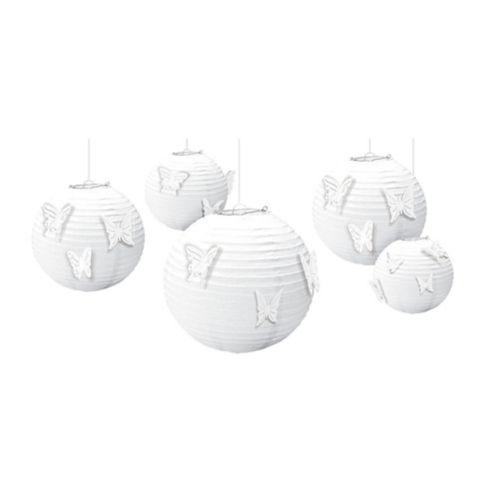 Butterfly White Paper Lanterns Kit, 5-pc