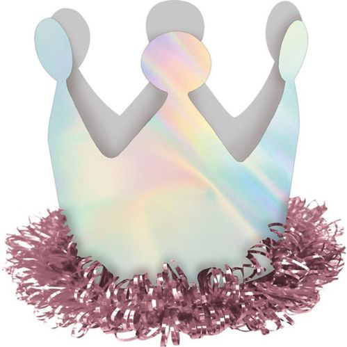 Pince à cheveux mini couronne iridescente aux couleurs de l'arc-en-ciel