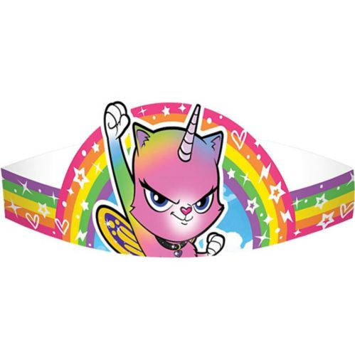 Rainbow Butterfly Unicorn Kitty Crown, 8-pk