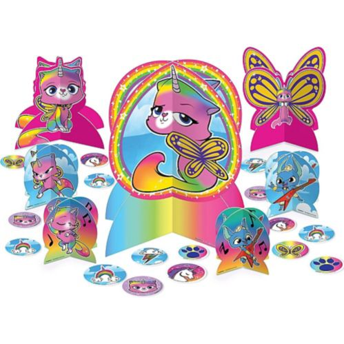 Rainbow Butterfly Unicorn Kitty Table Decorating Kit, 31-pc