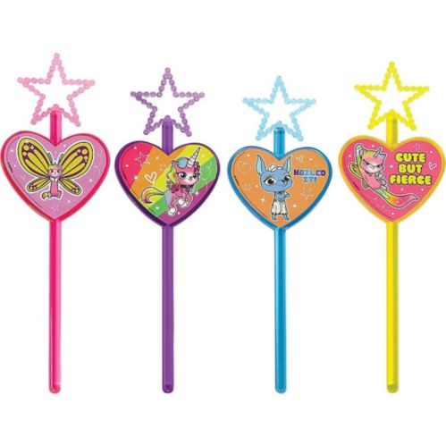 Rainbow Butterfly Unicorn Kitty Star Wands, 8-pk