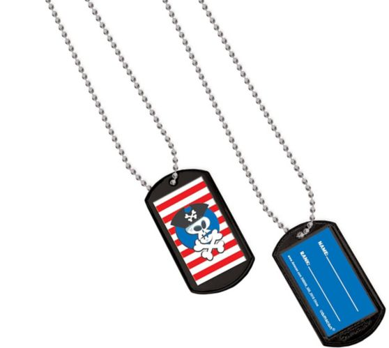 Pirate Dog Tag Necklaces, 24-pk