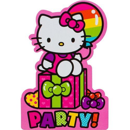 Invitations Hello Kitty arc-en-ciel, paq. 8