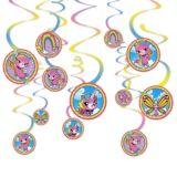 Rainbow Butterfly Unicorn Kitty Swirl Decorations, 12-pc