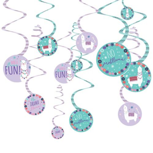 Llama Fun Swirl Decorations, 12-pc