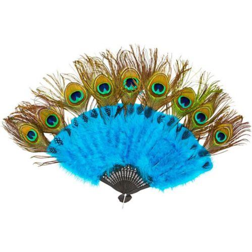 Accessoire éventail et queue à plumes de paon