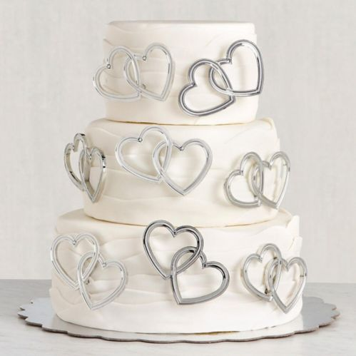 Piques pour gâteaux de mariage Double coeur, paq. 12