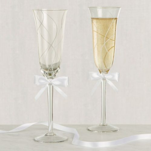 Swirl Toasting Glass with White Bow, 2-pk