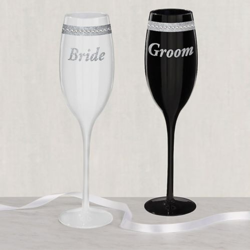 Rhinestone Bride & Groom Wedding Toasting Glasses, 2-pk