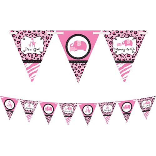 Banderole à fanions Fête pour bébé fille safari rose
