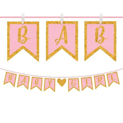 Glitter Baby Girl Clothespin Banner