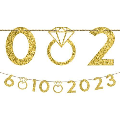 Customizable Glitter Gold Wedding Number Banner Kit, 42-pcs