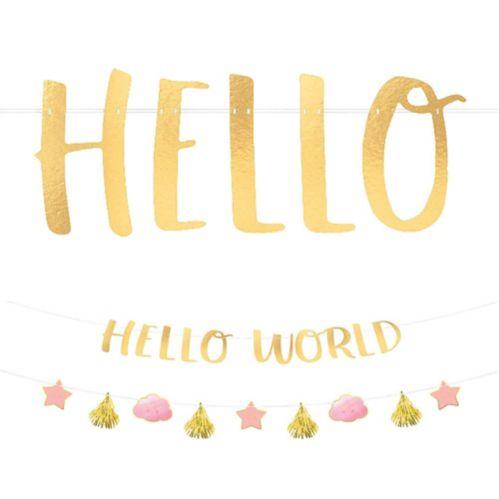 Metallic Hello World Baby Banner Kit