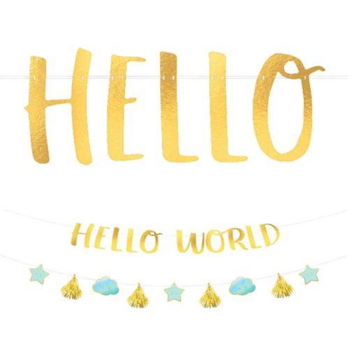 Blue Metallic Gold Hello World Baby Banner Kit