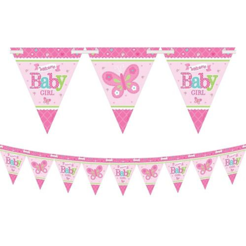 Welcome Baby Girl Baby Shower Pennant Banner