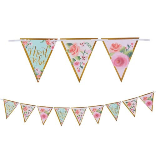 Mint to Be Floral Pennant Banner
