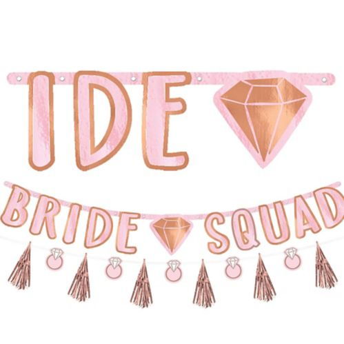 Blush Rose Gold Bride Squad Letter Banner with Mini Banner