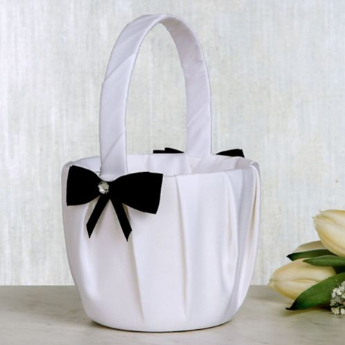 White Flower Basket with Black Bow, 7.5-in