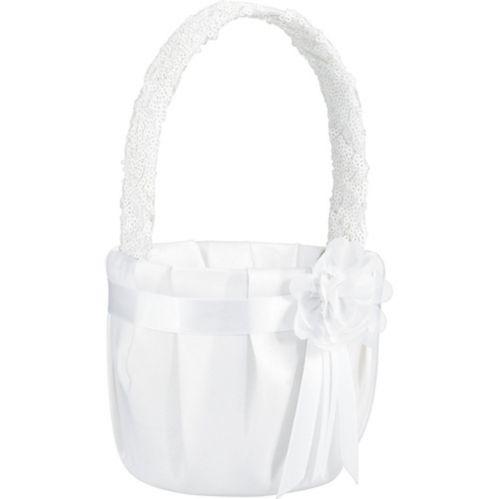 White Sequin Flower Girl Basket