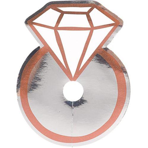 Étiquettes pour verre en forme de bague en diamant rose doré et argent métallique, paq. 18