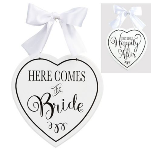 White Heart Here Comes the Bride Sign