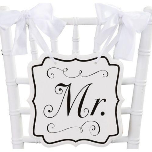 Affiche de chaise de mariage, Mr, blanc