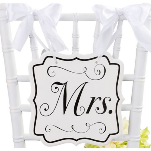 White Mrs Wedding Chair Sign