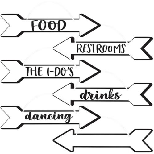Black and White Wedding Arrow Signs, 6-pc