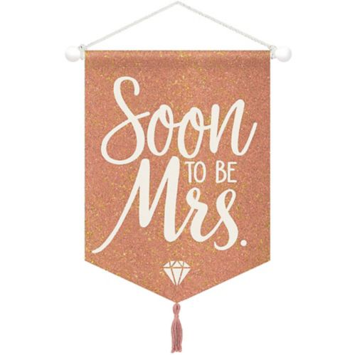 Affiche en toile Soon To Be Mrs, or et rose