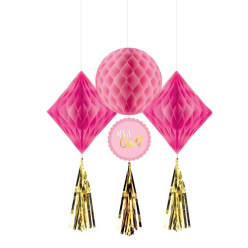 Metallic Gold and Pink It's a Girl Honeycomb Decorations, 3-pc