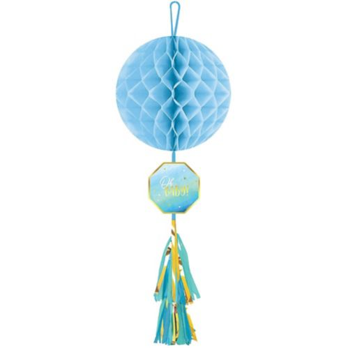Blue It's a Boy Honeycomb Ball Decoration with Tail