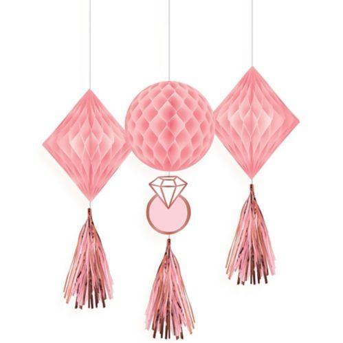 Décorations alvéolées avec pampilles, rose et or rose, paq. 3