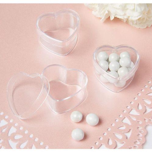Mini Clear Heart Wedding Favour Boxes, 24-pk