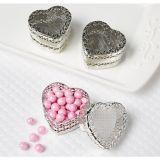 Silver Heart Wedding Favour Boxes, 6-pk