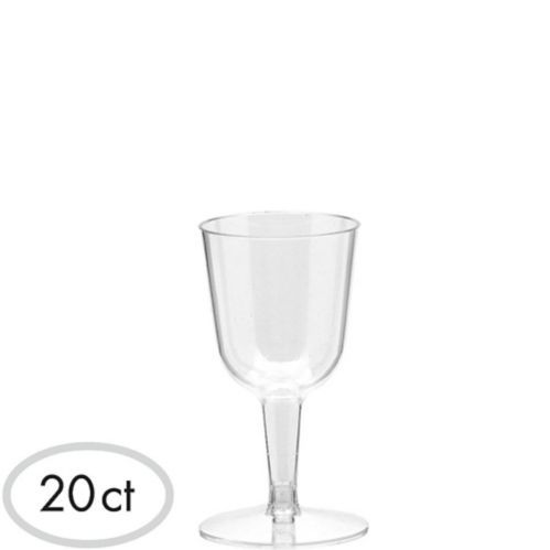 Mini CLEAR Plastic Wine Glasses, 20-pc