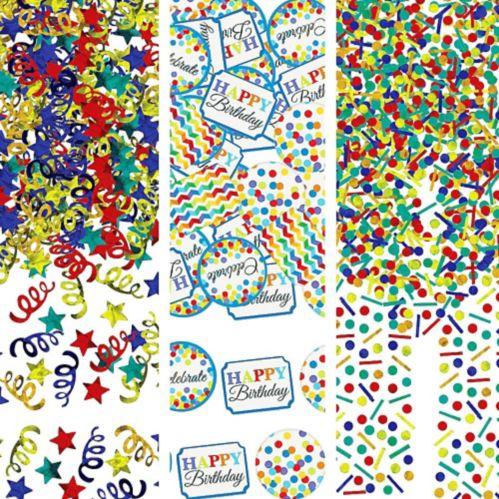 Rainbow Dot  Chevron Birthday Confetti