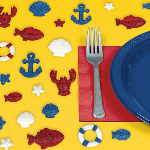 Glitter Nautical Table Scatter, 20-pc