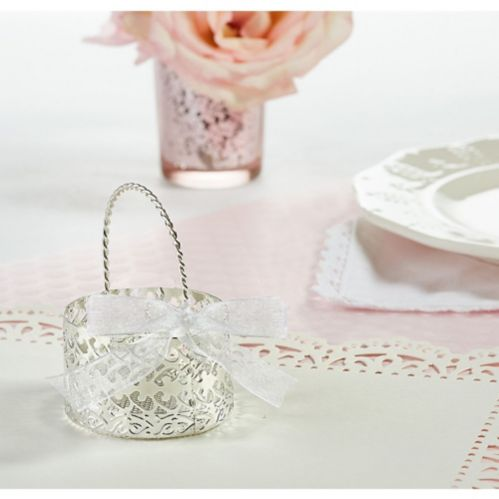 Silver Wedding Favour Basket