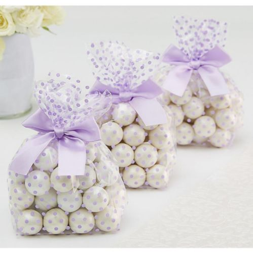 Lilac Polka Dot Treat Bags with Bows, 12-pk