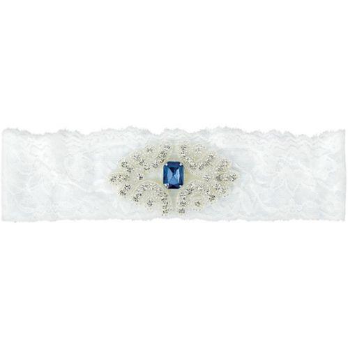 Blue Gem Stone Plus Size Wedding Garter