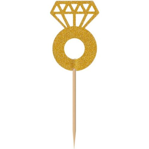 Glitter Gold Diamond Ring Party Picks, 24-pk